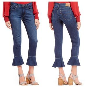 Levi's 711 Skinny Ruffle Cropped Ankle Jeans